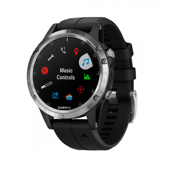 Фитнес-часы Garmin Fenix 5 Plus Silver with Black Silicone (010-01988-60)
